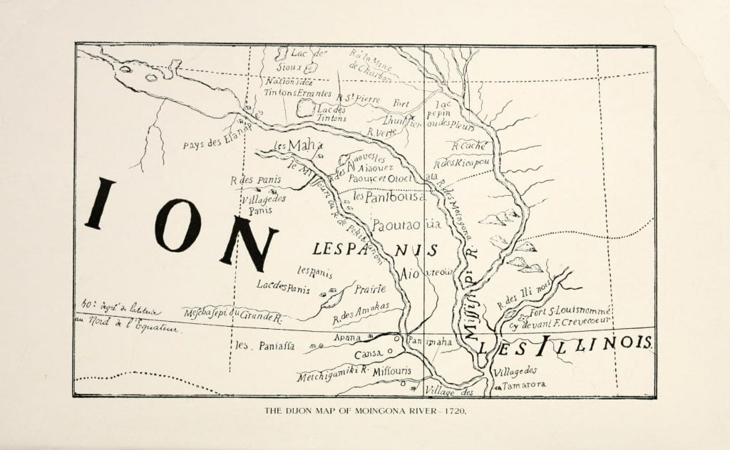 Dijon Map of Moingona River, 1720